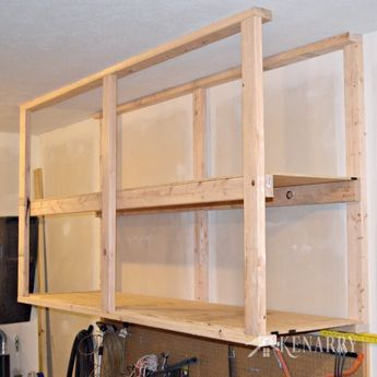 Diy Garage Storage Great Idea For Ceiling Mounted Shelves In The