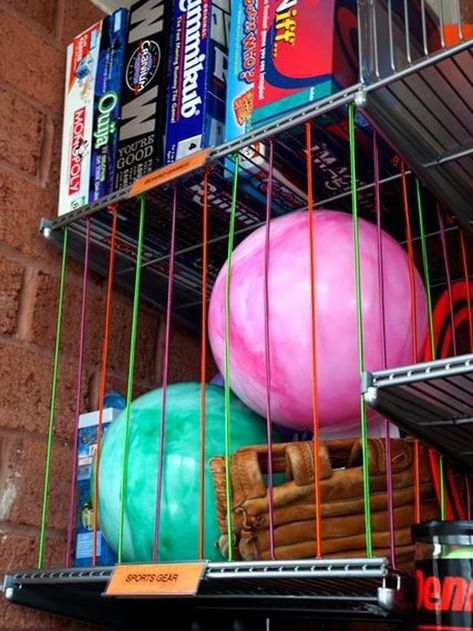 Bungee Cords...so smart! http://www.hgtv.com/specialty-rooms/repurposing-household-items-for-closet-organization/pictures/page-17.html?soc=pinterest