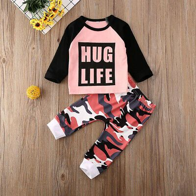 Baby Kids Girls Leopard Outfits Tops Pants Set Toddler Spring Clothes Tracksuit