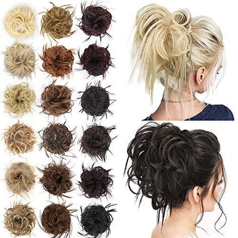 AISI BEAUTY Tousled Updo Hair Pieces Messy Bun Hair Scrunchies Extensions Hair Pieces and Ponytails Hair Extensions for Women - 24/613#(Natural Blonde Mix Bleach Blonde)