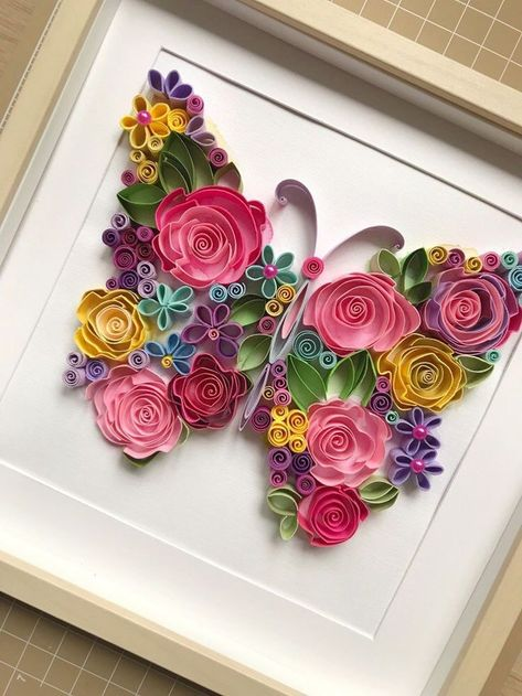 Excited to share this item from my #etsy shop: Quilling flowers butterfly - Quilling Paper Art - Framed floral butterfly - Handcrafted original design wall art