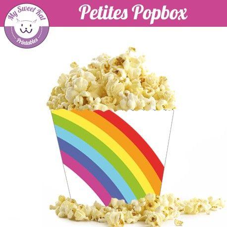 popbox - contenant boite à pop-corn à imprimer thème rainbow