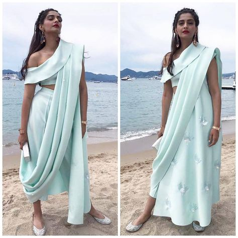 Cannes 2017: Sonam Kapoor makes a quirky statement in this pastel Masaba dhoti saree but we are digging the hairdo more - view pics