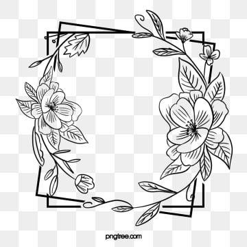 Black Hand Painted Line Side Wedding Decoration With Square Surrounded By Open Pure Flower Border Everlasting Agreement Love Png Transparent Clipart Image An Flower Border Pure Products Flower Border Png