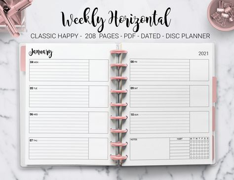 2021 Weekly Planner Agenda Habit Tracker Horizontal Dated Week on Two Page Mambi Classic Erin Condren Happy Planner HP PDF Printable Inserts