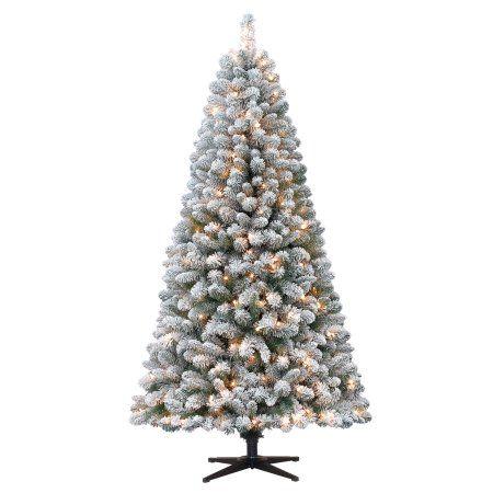 Holiday Time Pre Lit 6 5 Crystal Pine Artificial Christmas Tree Clear Lights Pre Lit Christmas Tree Pine Christmas Tree Flocked Christmas Trees