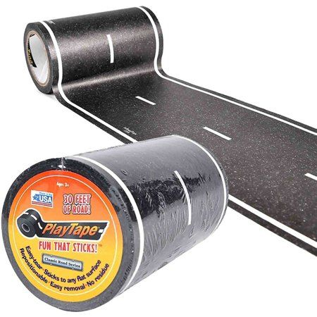 Printed to look like a road, Play Tape Classic Road Series is a roll of removable tape that's perfect for playing with die-cast toy and model cars like Hot Wheels and Matchbox. Play Tape is the fastes Bike Birthday Parties, Race Car Birthday, Race Car Party, Disney Cars Birthday, Birthday Party Themes, 3rd Birthday, Race Car Room, Birthday Ideas, Cars Themed Birthday