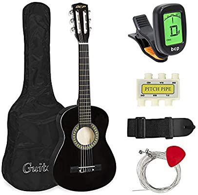 Amazon Com Best Choice Products 30in Kids Acoustic Guitar Beginner Starter Kit With Electric Tuner Strap Case S Guitar For Beginners Guitar Acoustic Guitar