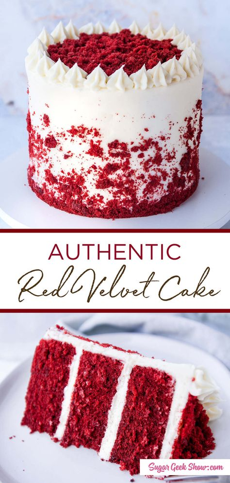 how to make an authentic red velvet layer cake with cream cheese frosting. If yo. how to make an authentic red velvet layer cake with cream cheese frosting. If you& been wondering how to make a REAL red velvet cake, you need to try this recipe! Chocolate Oreo Cake, Chocolate Recipes, Hot Chocolate, Decadent Chocolate, Chocolate Covered, Super Moist Chocolate Cake, Chocolate Curls, Chocolate Cheesecake, Homemade Chocolate