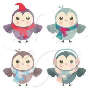 This cute Christmas clip art shows images of charming little owl clip art, all dressed up warmly and ready to go out and play!   #clipart