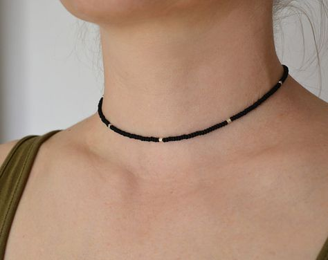 Beaded Choker – Silver 925 beads – Short necklace – Sead bead necklace – Black b… – jewelry Beaded Choker Necklace, Short Necklace, Simple Necklace, Diy Necklace, Black Necklace, Beaded Chocker, Crystal Choker, Collar Necklace, Cute Jewelry