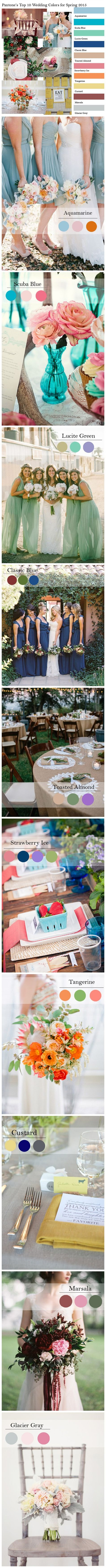 Pantone's Top 10 Fashion Colors for Spring Wedding Color Trends 2015 #tulleandchantilly