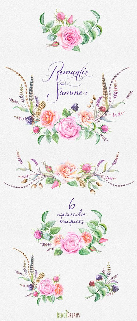 Watercolor Bouquets hand painted clipart roses von ReachDreams