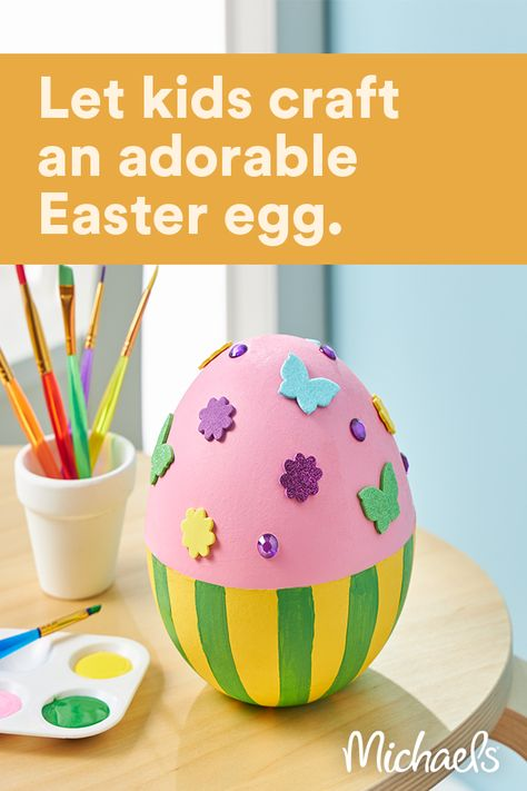 This project is intended for kids ages 6+. Kids will have fun painting this paper mache egg, then decorating with stickers and gems.