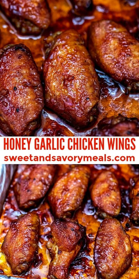 Honey Garlic Chicken Wings - Sweet and Savory Meals - - Honey Garlic Chicken Wings are perfectly sweet and savory at the same time! Better than take-out, try this dish for a finger-licking good meal! Honey Garlic Chicken Wings, Honey Wings, Honey Garlic Sauce, Honey Barbeque Chicken, Honey Baked Chicken, Sticky Chicken, Lemon Sauce, Smoked Chicken, Cooking Recipes