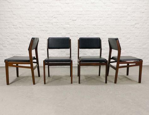 Set Of Four Teak Wood Black Leatherette Dining Chairs By Topform 1960s Dining Chairs Teak Wood Chair