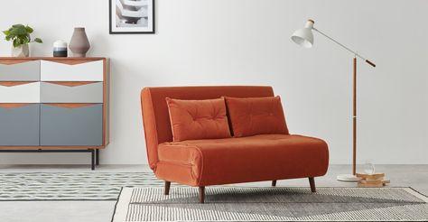 Haru Small Sofa Bed Flame Orange Velvet In 2020 Sofa Bed For Small Spaces Sofas For Small Spaces Small Sofa