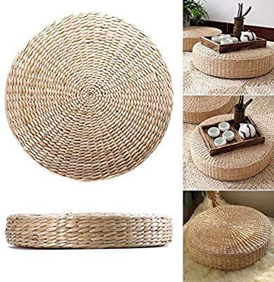 Japanese Tatami Floor Pillow Natural Seat Pad Woven Straw Cushion Round Pouf Yoga Seat Pillow Knitted Floor Mat Natural Seat Pads Floor Pillows Floor Cushions