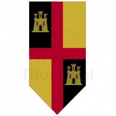 Estandarte Medieval Cruz Con Castillos Estandartes Medievales Tamano 100x50 Cms Fiesta Medieval Medieval Estandartes