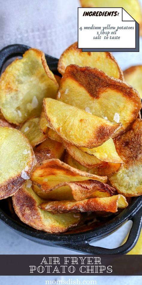This Air Fryer Potato Chips recipe is going to blow your mind! The chips are crunchy and so delicious, and you won't feel guilty at all about enjoying a bowl or two.