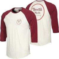 Brixton Wheeler 3/4 Sleeve T-Shirt - cream/burgundy