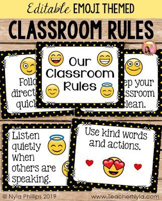 Editable Emoji Themed Classroom Rule Posters Classroom Rules Poster Classroom Rules Emoji Classroom