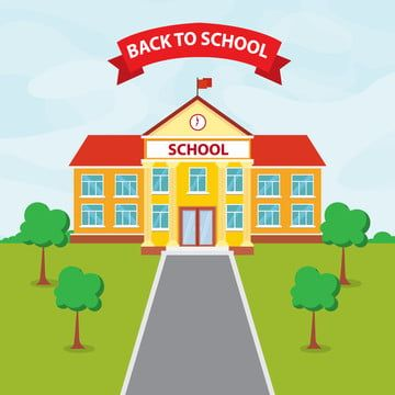 School Building Flat Design School Clipart School Vector Png And Vector With Transparent Background For Free Download In 2021 Art Activities For Toddlers School Building Background School