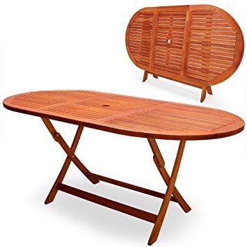 Deuba Wooden Garden Table Alabama Fsc Certified Eucalyptus Wood Folding Dining Table 6 Seater Parasol Hole Garden Furniture 160 X Wooden Garden Table