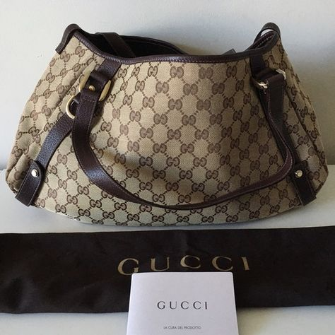 041cafb97 GUCCI ABBEY GG MONOGRAM HOBO BROWN CANVAS BAG GUCCI Abbey -Condition: Brand  New With Dust Bag + Gucci Card. -Model: Abbey Hobo. -Authenticity Number:  130736 ...