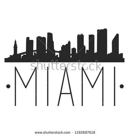 Miami Florida Skyline Silhouette City Design Vector Famous Monuments Skyline Tattoo City Design Miami Skyline
