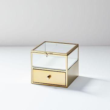 Terrace Shadow Box Brass Square W Drawer Glass Shadow Box Shadow Box Wood Jewelry Box
