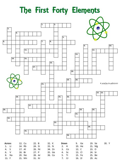 Crossword puzzle with the first forty elements. The clues are the symbols. Good for a chemistry class.