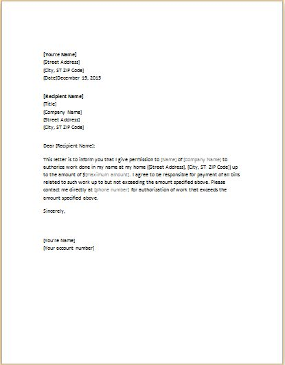 authorization letter template for word amp excel templates sample - permission letter