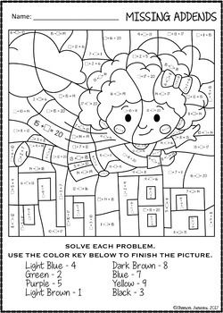 Color By Number Missing Addends Super Hero Themed Math Worksheets Math Math Coloring Superhero
