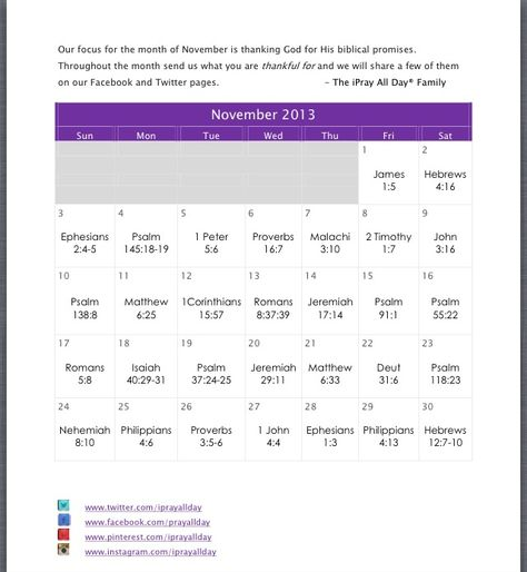 """November 2013 Prayer Calendar. Our focus for the month is """"Thankfulness""""  What are you thankful for?"""