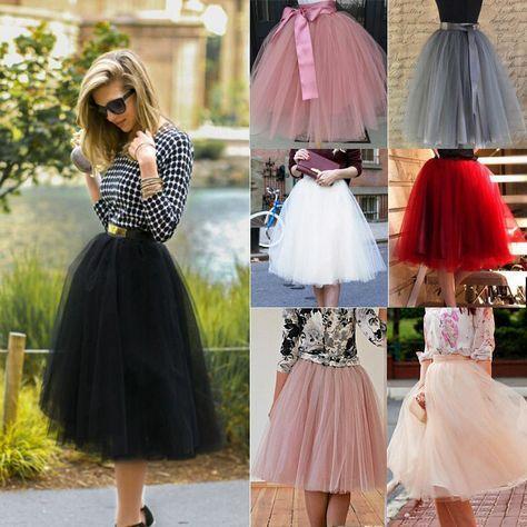 New Women Tulle Tutu Skirt Short Knee Length Prom Princess Ballet Lace Dress Hot