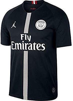 66f81efff0067 Amazon.com : NIKE Paris Saint-Germain Air Jordan Men's Third Jersey 2018-2019  Black (Small) : Sports & Outdoors