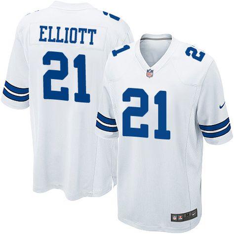 Nike Dallas Cowboys Men's #21 Ezekiel Elliott Game White Road NFL  free shipping