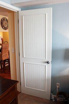 How to Add Molding Panels to a Flat Door & How to make a plain door look like bead board. | Decorating ...