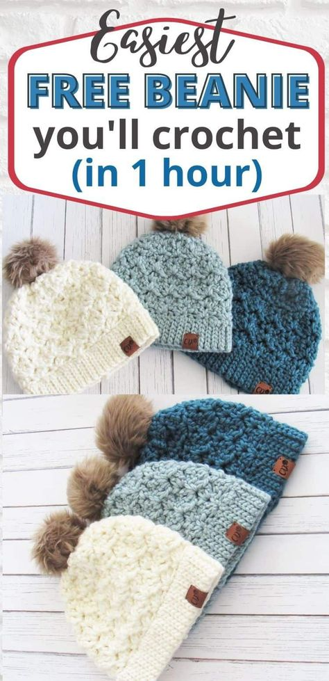 Diy Crochet Hat, Bonnet Crochet, Crochet Beanie, Crochet Crafts, Chunky Crochet, Crochet Toddler, Chunky Yarn, Crotchet, Diy Crochet Gifts