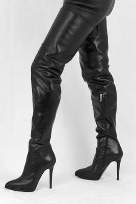 Schwarze Crotch Overknee Stiefel | Lederstiefel, Stiefel und