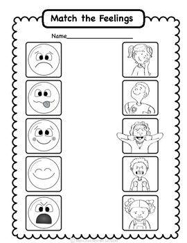 Social Emotional Worksheets Set 2 Identifying Feelings Emotions Preschool Teaching Emotions Feelings Activities Preschool - Download Matching Feelings Worksheet For Kindergarten Background