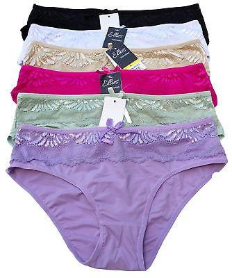Lot of 6pcs Women Ladies Sheer Floral Lace Bikini Panties Panty Underwear S-XL