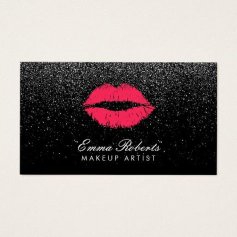 Makeup Artist Red Lips Black Glitter Modern Business Card - click/tap to personalize and buy