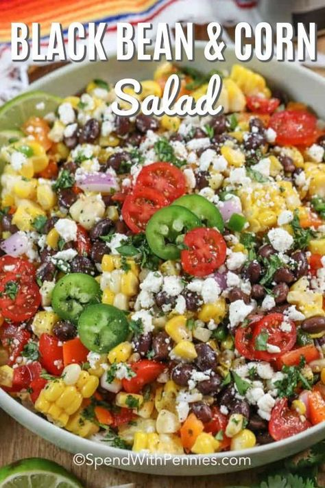 Black bean corn salad is an easy healthy summer recipe full of fresh veggies like corn, black beans, tomatoes, and peppers! Topped with a Mexican flair dressing and feta cheese this delicious side is full of flavor and perfect for your next barbecue! #spendwithpennies #blackbeancornsalad     It is possible for your children to grow healthy, make home meals more enjoyable with nutritious and colorful recip... #Bean #Black #CORN #Easy #Fresh #full #Healthy #lik #Recipe #Salad #summer #Veggies