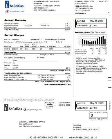 We Make You A Personalized Utility Statement From Socal Gas Or The Utility Provider Of Your Choice If We Cannot Accommodate Gas Bill So Cal Gas Bill Template