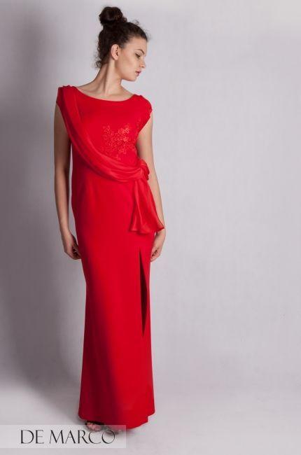 Długa czerwona suknia balowa na wesele, dla mamy Pana