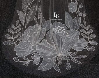 Lamnhibridals By Lamnhibridals On Etsy Flower Veil Sparkle Veil Floral Veil
