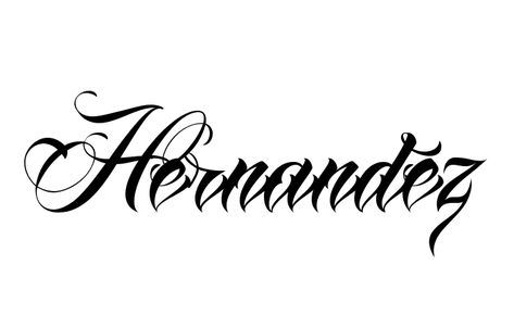 Tattoo Name Hernandez using the font style Anha Queen Script