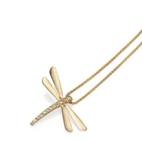 1201044f24708f Braybrook & Britten. Dragonfly Diamond & 14ct Gold Pendant | Diamonds